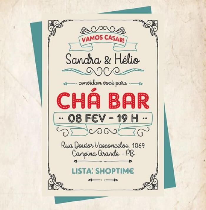 Convite colorido para festa Chá Bar