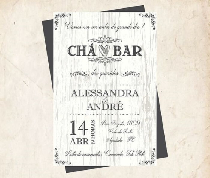Convite criativo em tons de preto e branco para Chá Bar