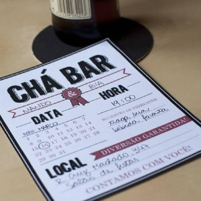 Convite simples para Chá Bar