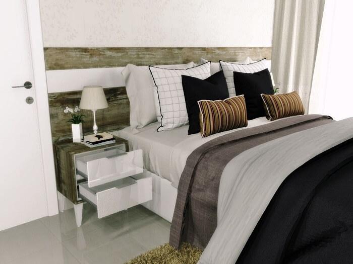 Criado mudo moderno planejado embutido na cabeceira da cama