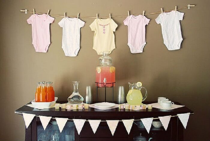 Decoração de mesa para Chá Bar de bebê