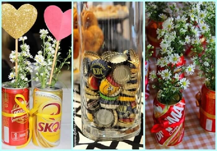 Decoração criativa com latinhas de cerveja para festa Chá bar