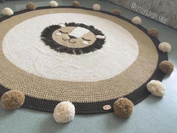 Delicadeza nesse tapete de crochê redondo