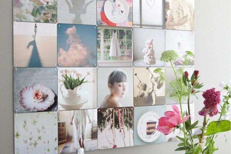 Ideia de decoração com painel de fotos Foto Fabio Design