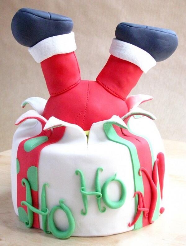 Modelo de bolo de natal fofo e criativo