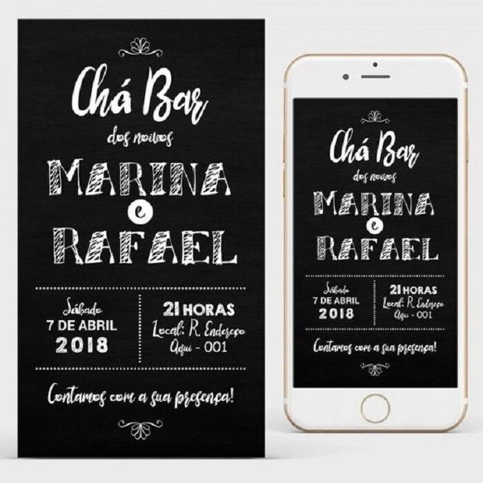 Modelo de convite CHá Bar impresso e virtual