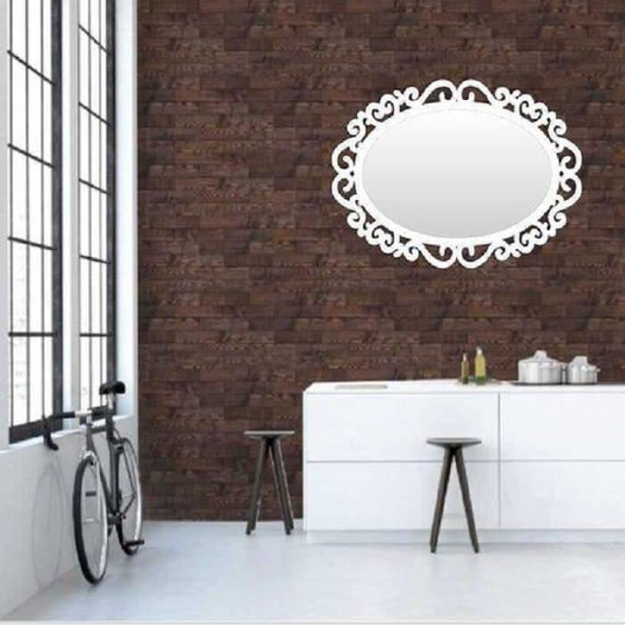 Moldura para espelho em MDF branco