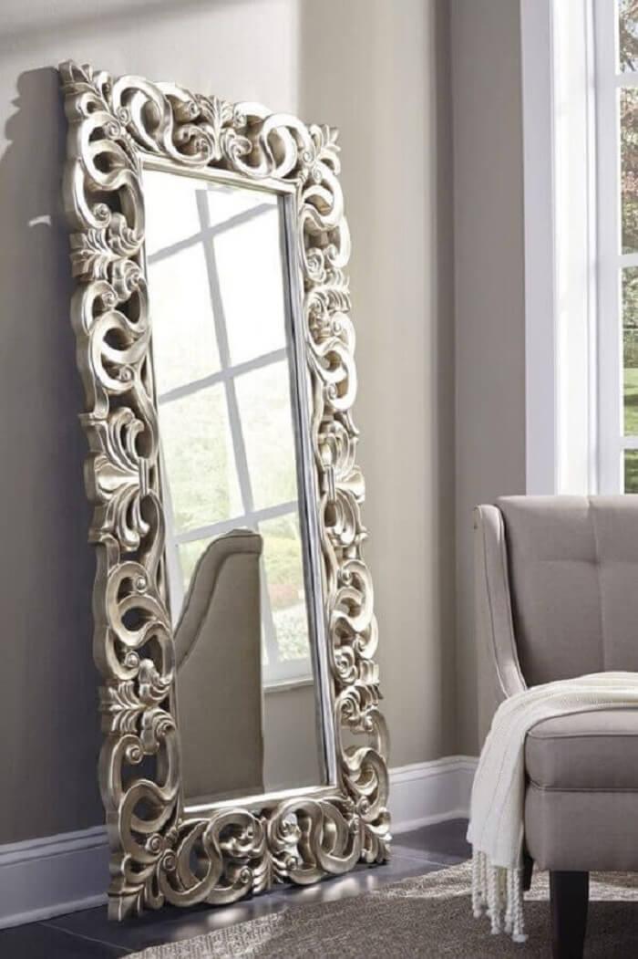 Moldura para espelho grande provençal encanta a de coração da sala de estar