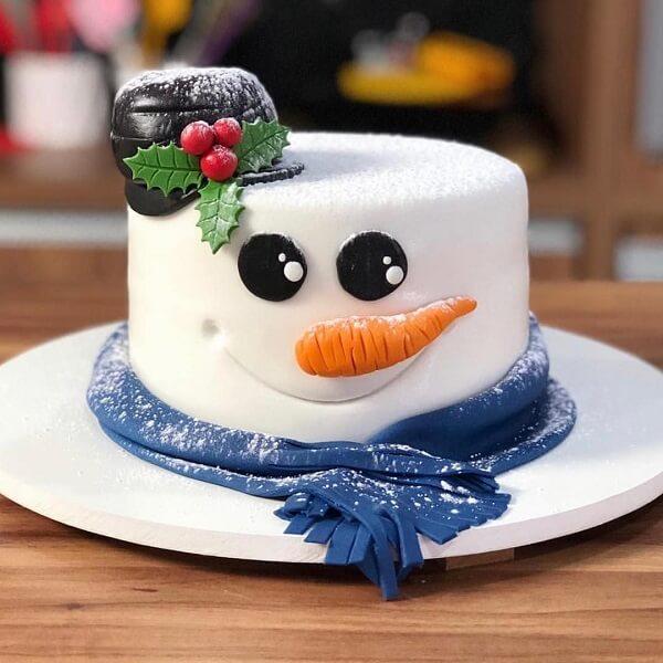 O boneco de neve serve de inspiração para o bolo de natal