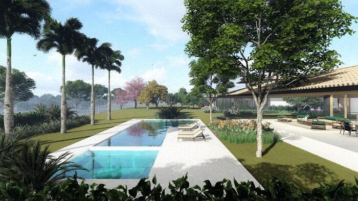 Piscina com jardim tropical