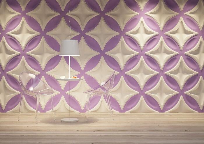 Placa de gesso 3D com cores mescadas trazem alegria para o ambiente