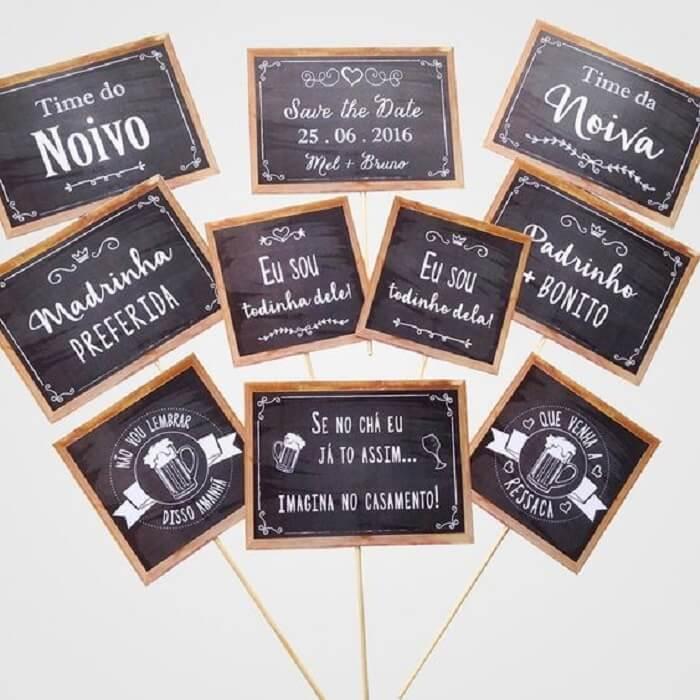 Plaquinhas criativas para festa