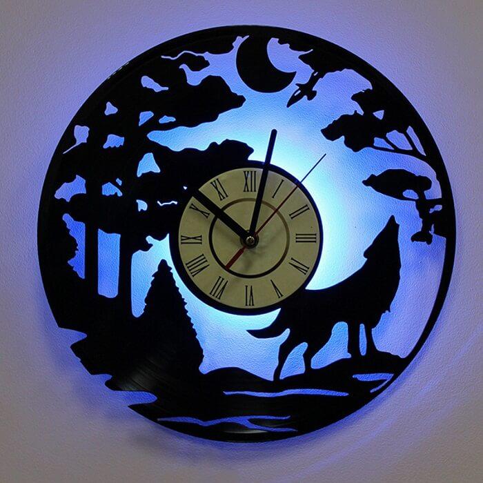Relógio de parede lua com iluminação especial