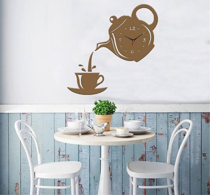 Relógio de parede para cozinha em formato de bule