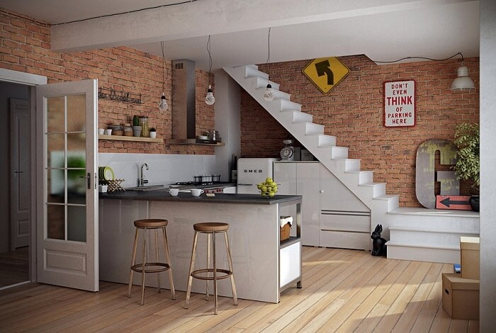 Sala com escada e cozinha americana