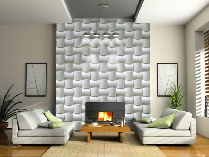 Sala de estar ampla com placa de gesso 3D gigante