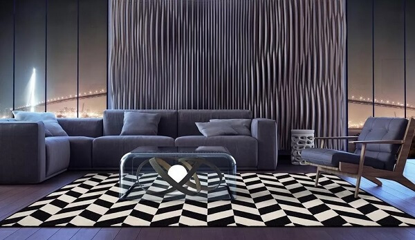 Sala de estar ampla com tapete preto e branco gigante