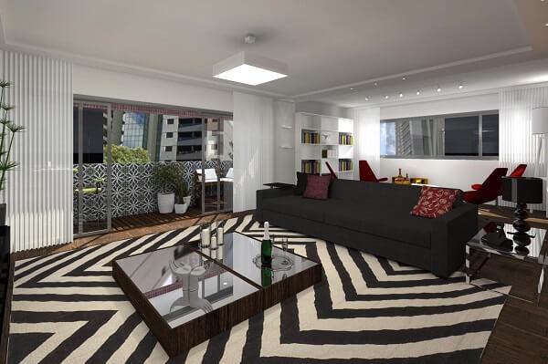 Sala de estar ampla com tapete preto e branco