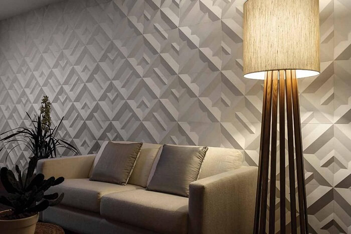 Sala de estar com placa de gesso 3D