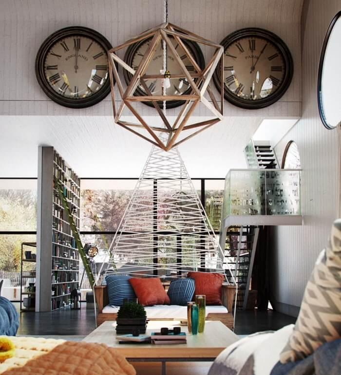 Sala de estar com relógios de parede gigante