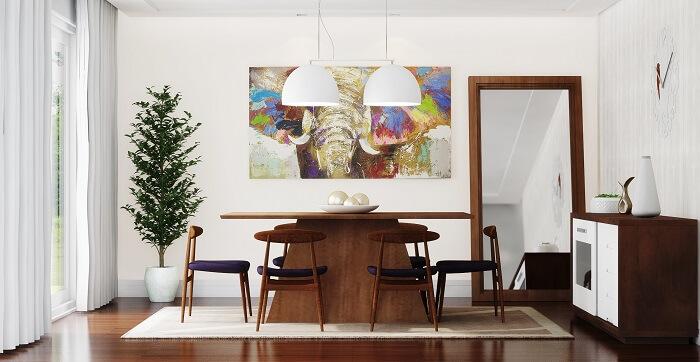 Sala de jantar ampla com tapete sisal retangular