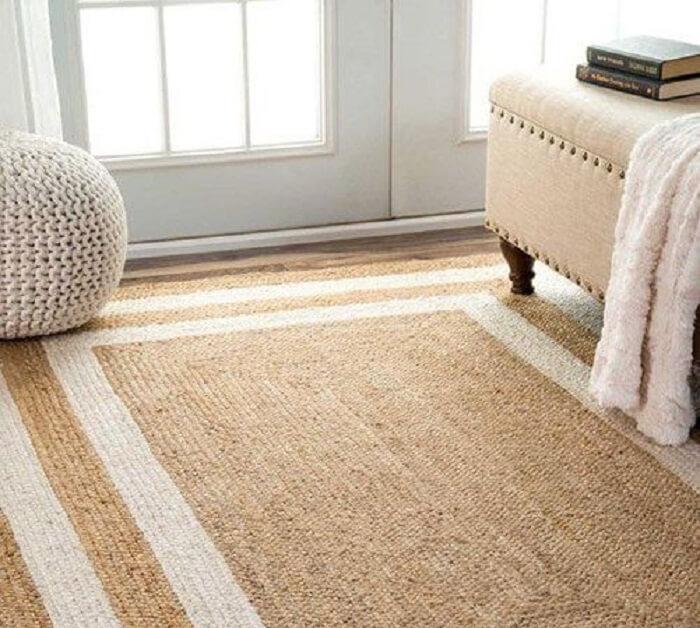 Tapete sisal em formato retangular para sala de estar