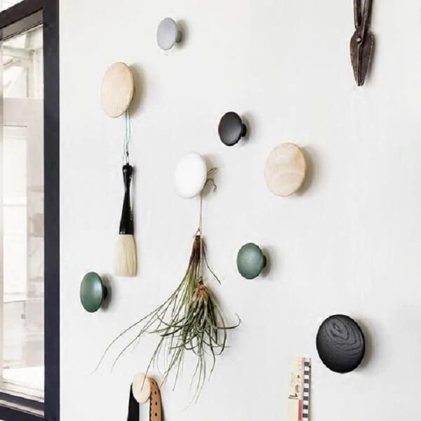 Conjunto de ganchos de parede em formato redondo