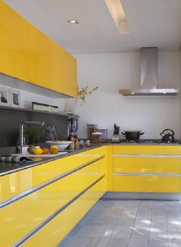armário de cozinha amarelo planejado Foto Ideias e Projetos