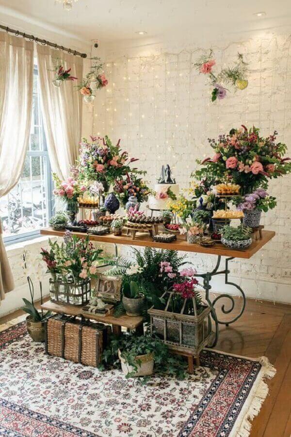 arranjo de flores para decoração de mesa de mini wedding Foto Pinterest