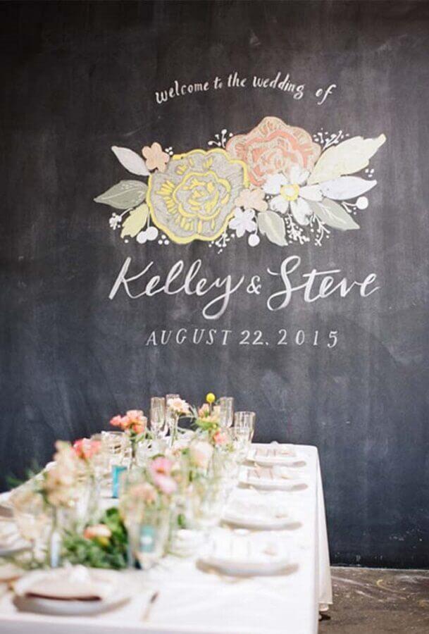 arte em parede de lousa para mini wedding Foto Inspired By This