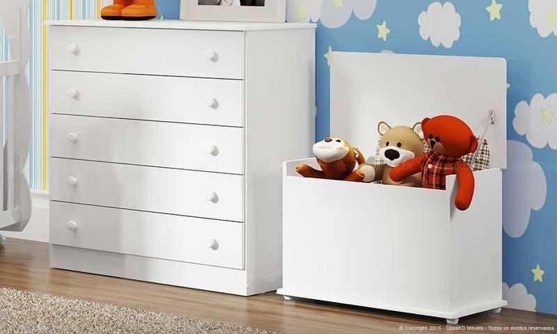 baú - baú de brinquedos e cômoda branca