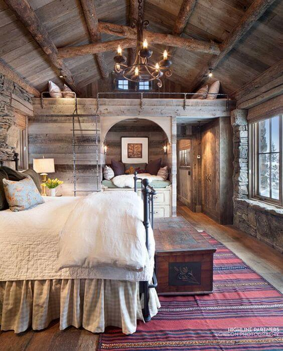 baú - baú de madeira escura e cama metálica preta