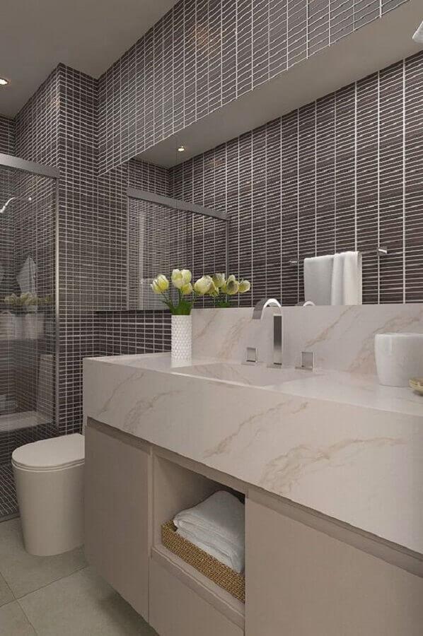 banheiro feminino decorado em tons neutros Foto Em Meu Canto