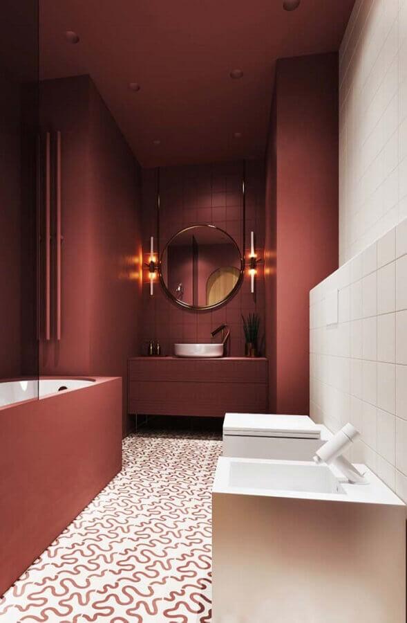 banheiro feminino decorado na cor coral Foto Pinosy