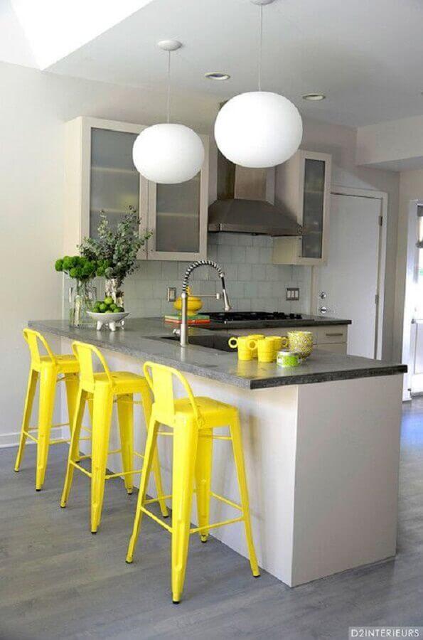 banqueta para cozinha amarela Foto D2 Interieurs