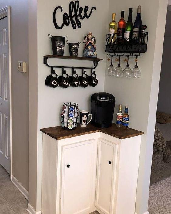 Barzinho de canto com espaço para café