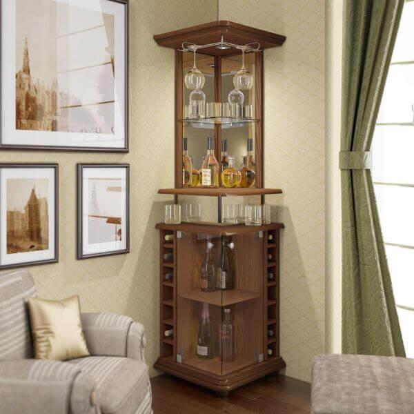 Barzinho para sala de canto com espelhos e vidro