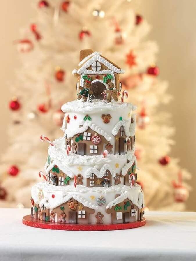 bolo de natal decorado com pasta americana Foto CakesDecor