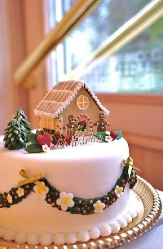 bolo de natal decorado com pasta americana Foto Hasshe