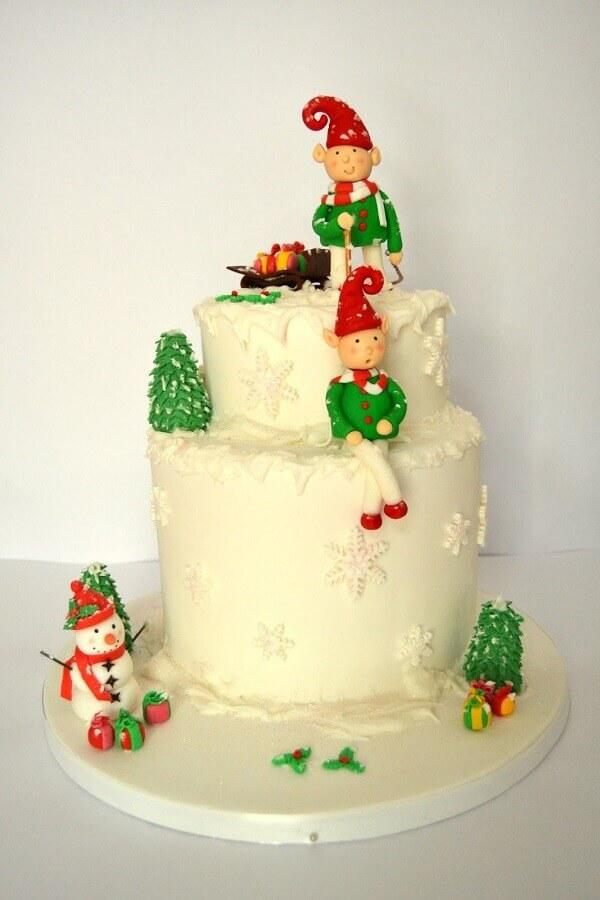 bolo de natal infantil decorado com pasta americana Foto Pinterest