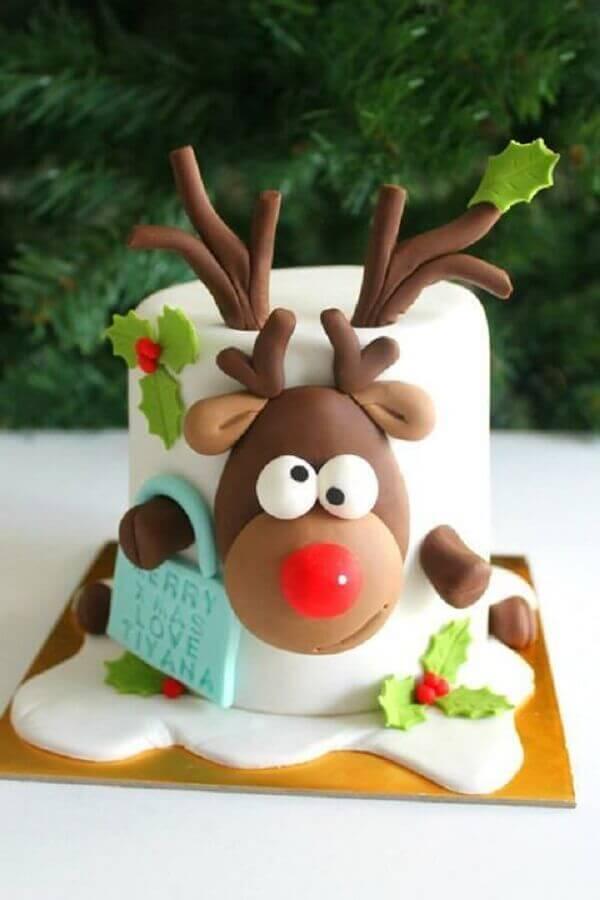 bolo de natal infantil decorado com pasta americana Foto SistaCafe