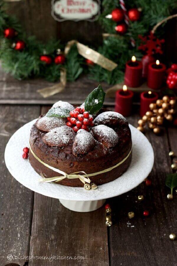 bolo de natal simples e rústico Foto We Heart It