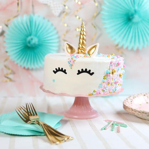 Bolo de unicórnio simples para festa de aniversário em casa
