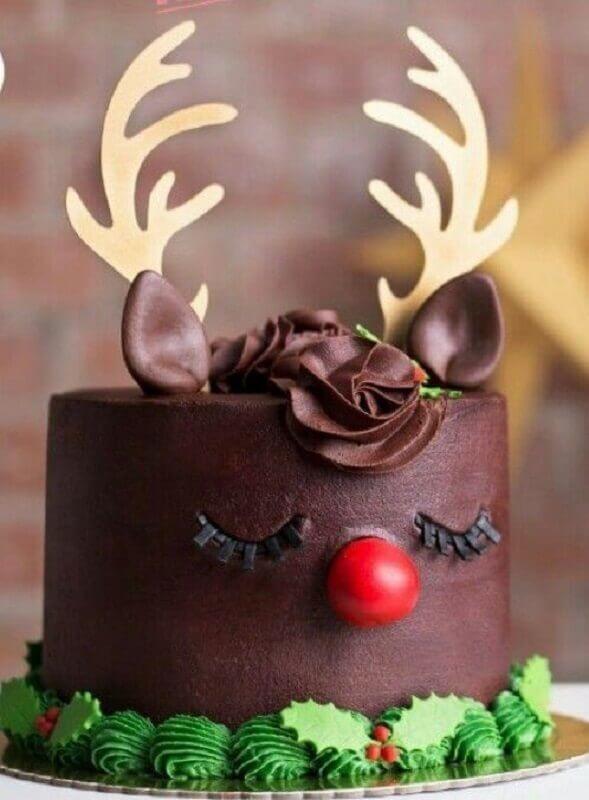 bolo decorado de natal infantil com rostinho de rena Foto Revista Veintitantos