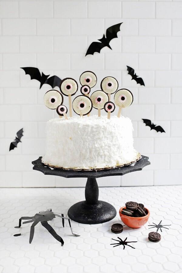 bolo simples decorado para festa de dia das bruxas Foto Ideias Decor