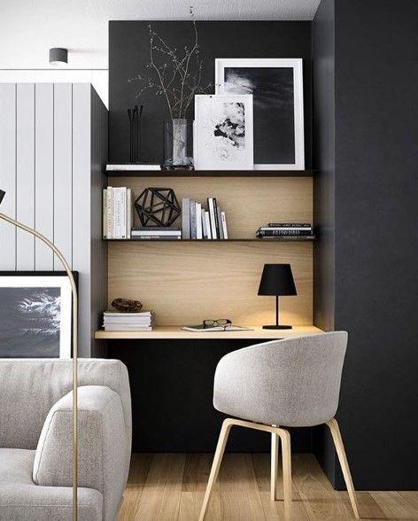 cadeira para escrivaninha - parede com pintura preta e bancada de madeira