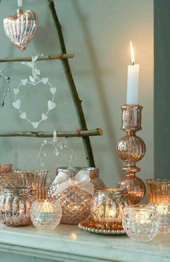 castiçal de vidro com acabamento dourado Foto Miranda Be