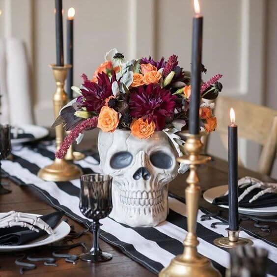 Decoração de mesa para festa de halloween