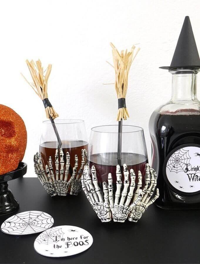 copo decorado para festa de dia das bruxas Foto Assetproject