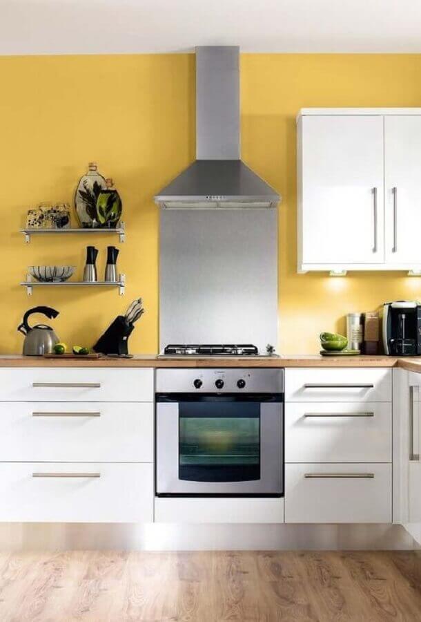 cozinha amarela e branca Foto Ideias Decor